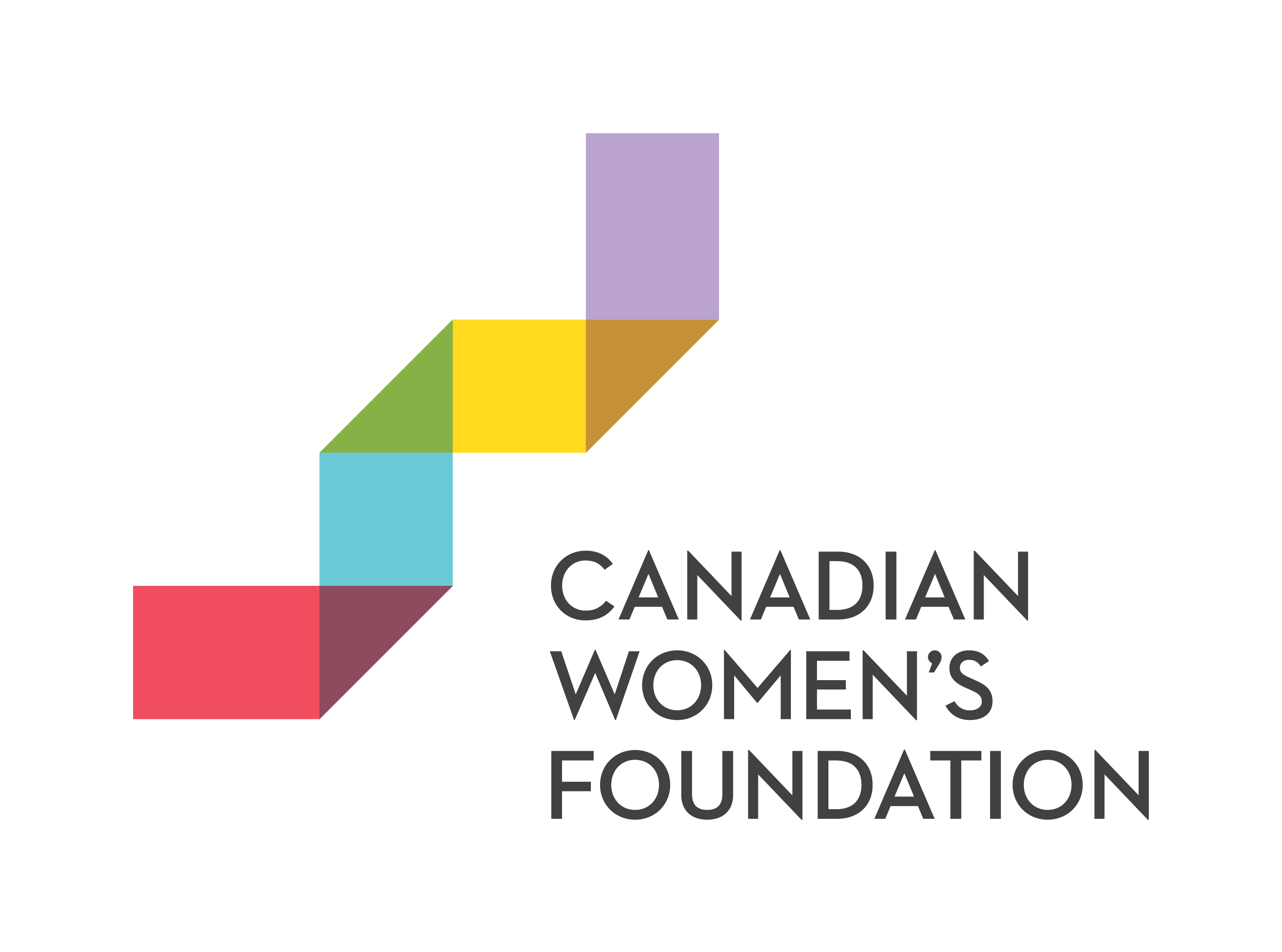 Canadian Women's Foundation logo with purple, yellow, green, blue, and red ribbon on the left side