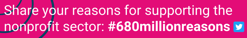 Pink banner ad asking for people to use the #680millionreasons hashtag to list reasons for supporting the nonprofit sector with a stabilization fund
