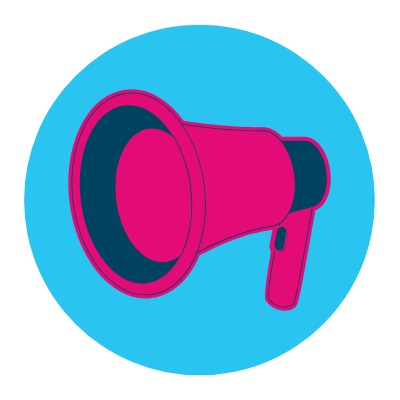 image of a pink megaphone on a blue circle