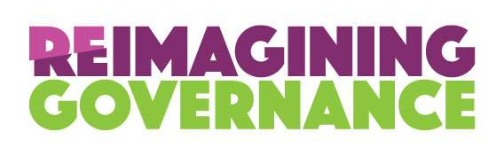 """The words """"Reimagining Governance"""", where """"Reimagining"""" is purple and """"Governance"""" is green."""